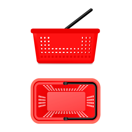 Set of 2 isolated different realistic views of red supermarket shopping baskets front and top angles empty without items products vector illustration Illustration