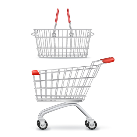 Realistic set of two empty metal shopping carts isolated trolley and basket with wheels and shadow vector illustration