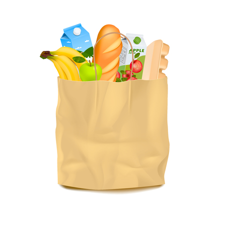 brown paper bag: Isolated brown paper bag filled with food realistic images of products with shadow on blank background vector illustration