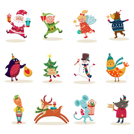 Christmas characters set with decorated tree santa claus and snowman animals elf and angel isolated vector illustration Illustration