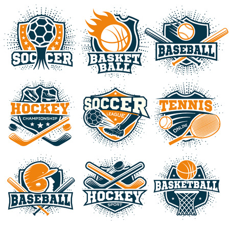 disciplines: Set of nine isolated colorful sport representing different sport disciplines on blank background flat vector illustration