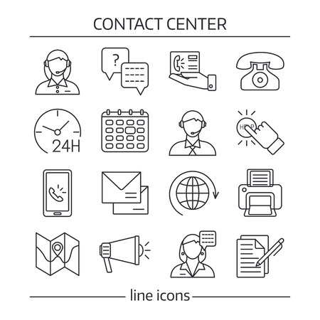 contact center: Isolated contact us in linear style icon set on theme of contact center vector illustration