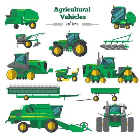 Véhicules agricoles icônes plates serties combinent remorques de tracteurs éléments de culture et d'irrigation isolé illustration vectorielle