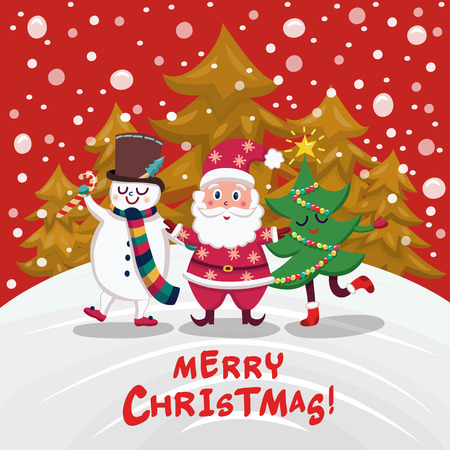 companions: Christmas companions cartoon design with santa claus snowman and decorated tree on winter forest background vector illustration Illustration