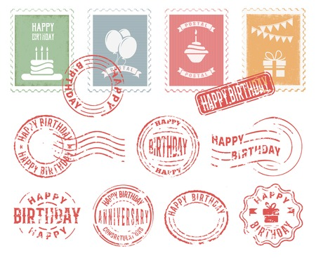 postmarks: Colorful decorative stamps and postmarks set for birthday greeting postcard letter flat vector illustration