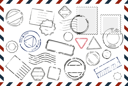 postmarks: Composition with variety of stamps with place for text and postmarks on rectangular postal envelope flat vector illustration Illustration