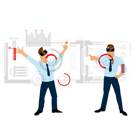 Cartoon style background with two male characters in augmented reality helmets with big interactive touch panels vector illustration Illustration