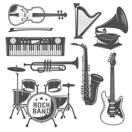 synthesizer: Music monochrome elements set with violin and harp synthesizer quitar percussions and saxophone isolated vector illustration Illustration