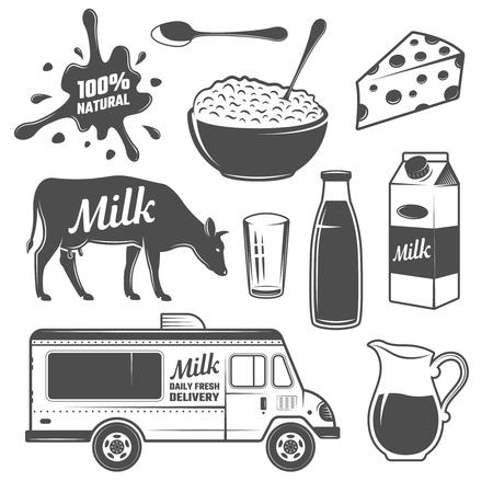 Elementi latte Monochrome Set con mucca e latticini imballaggio e il trasporto spruzzata isolata illustrazione vettoriale