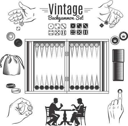 backgammon: Backgammon vintage style elements set with chips and dice in male hands game board isolated vector illustration