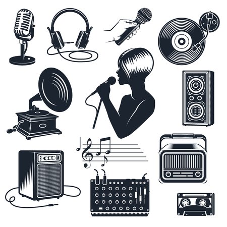 audio equipment: Karaoke elements monochrome vintage set including singing woman with microphone in hand audio equipment isolated vector illustration