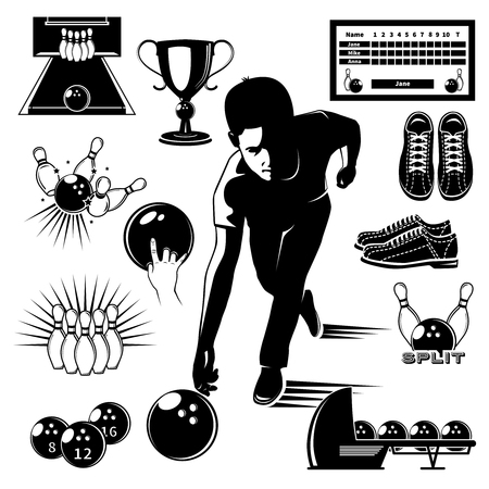 alley: Bowling elements vintage style set with player on alley trophy and sports equipment isolated vector illustration