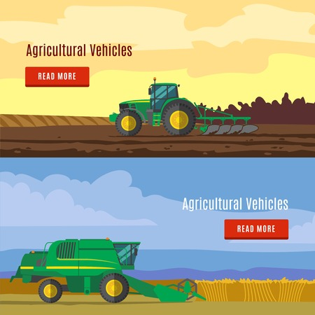 farm equipment: Agricultural vehicles flat banners with fields and farm equipment for plowing and harvesting isolated vector illustration