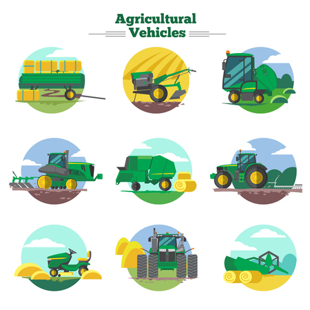 seeding: Agricultural vehicles concept with cultivation seeding and harvesting packing and transportation of hay isolated vector illustration Illustration