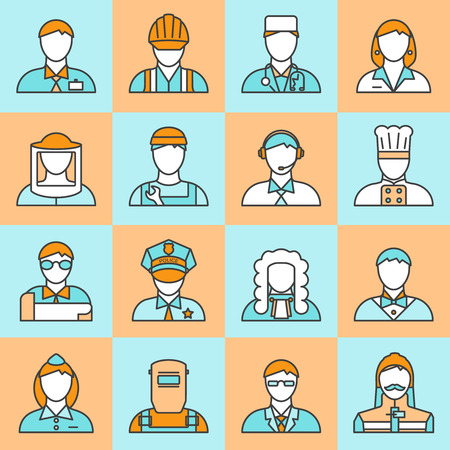 employers: Square colored professions avatars line icon set with different types of workers and employers vector illustration