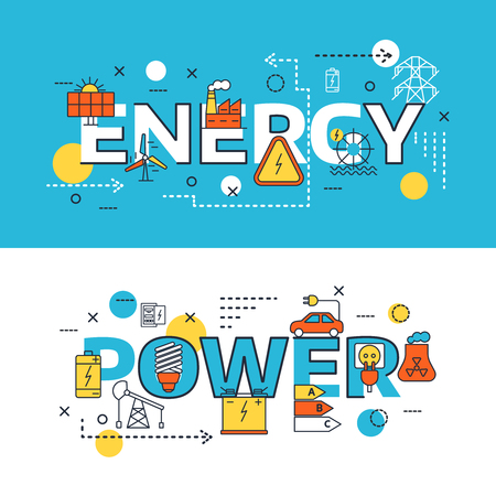 Two horizontal energy Sources banner set with big headlines energy and power vector illustration Illustration