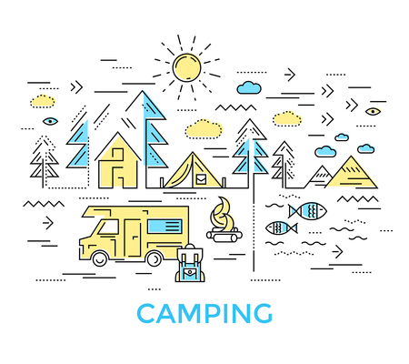 survival knife: Colored camping composition in linear style with machine thing and trees around vector illustration
