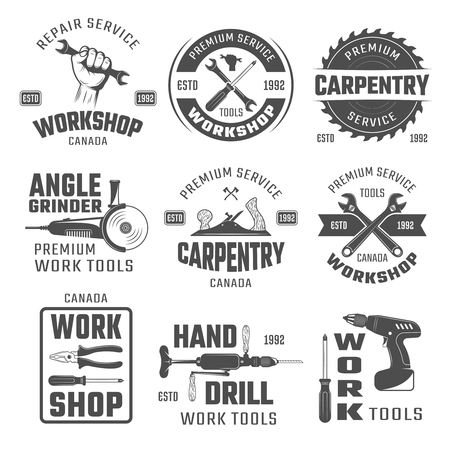 timbering: Work tools black white emblems with wrench plane and hand drill pliers and gringer isolated vector illustration