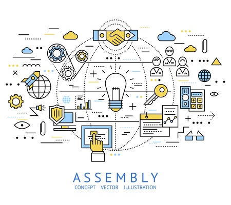 assembly line: Assembly line art with isolated colored in linear style elements and lines vector illustration