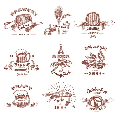 ale: Beer vintage style emblems of breweries and pubs with ale mugs and barrels seafood isolated vector illustration