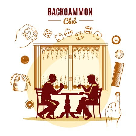 Backgammon club vintage style design with dice chips silhouettes of men on game board background vector illustration Çizim