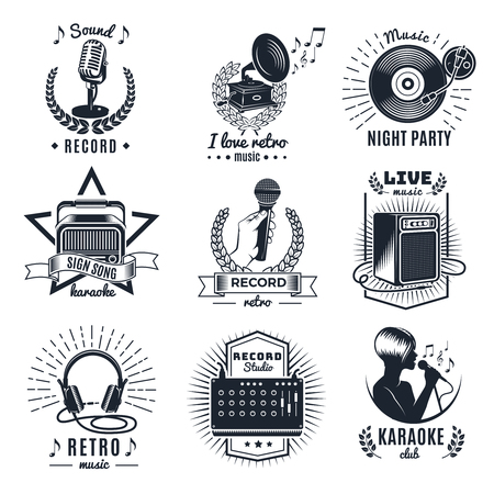 Karaoke elements monochrome vintage emblems of clubs and studio record with letterings music equipment isolated vector illustration