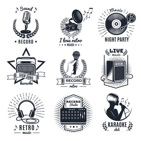 Karaoke-Elemente monochrome Vintage Embleme von Clubs und Studio-Aufzeichnung mit Schriftzügen Musik-Ausrüstung isoliert Vektor-Illustration Vektorgrafik
