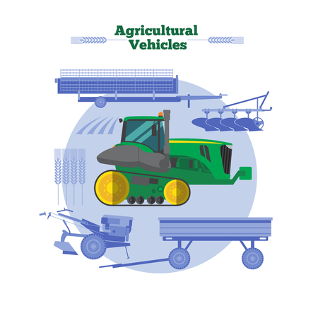 crop sprayer: Farm machines flat design with green yellow combine cereals and agricultural equipment in blue color vector illustration