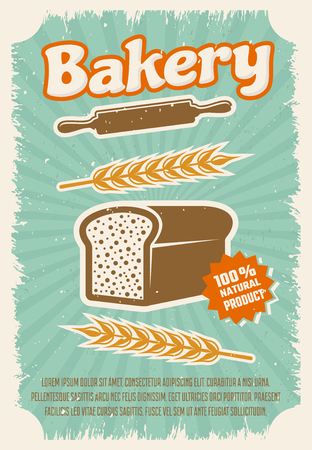 rye bread: Bakery retro style poster with rye bread rolling pin wheat on blue textured background vector illustration Illustration