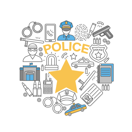 police line: Police line isolated icon set combined in police badge with gold star in the center vector illustration