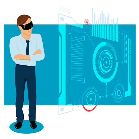 formal dress: Colorful background with male character in formal dress and VR helmet looking on transparent interactive panel vector illustration