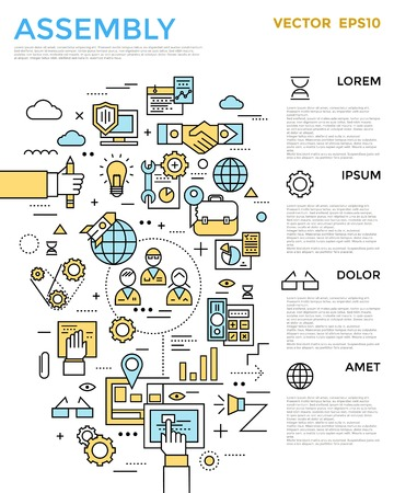 Assembly vertical infographic with working process in linear style and texts around vector illustration