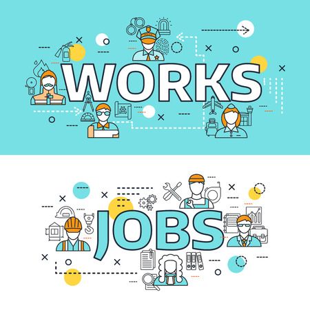 jobs: Two horizontal professions avatars line banner set with works and jobs headlines vector illustration