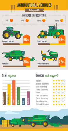 harvesting: Agricultural vehicles infographics with farm machines rural landscape rating charts and statistics on light background vector illustration