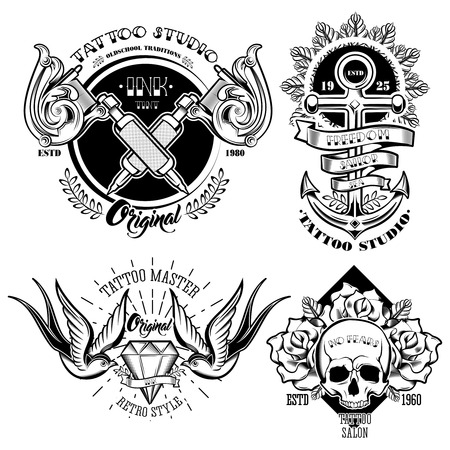 Tattoo studio monochrome emblems set with professional equipment flowers and leaves anchor skull swallows isolated vector illustration Illustration