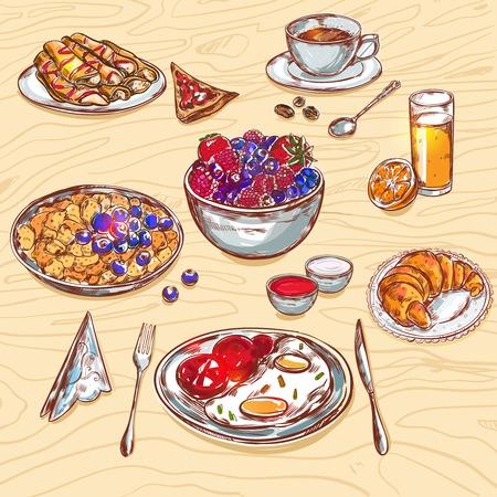 食事木のテーブルのベクトル図の上に立ってのように食品の朝食ビュー アイコン セット見える