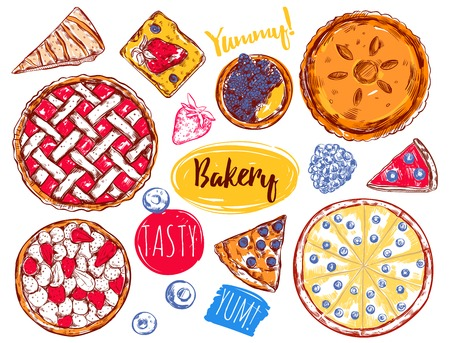 slice of cake: Hand drawn pie slice cake icon set with different type of cakes and descriptions vector illustration