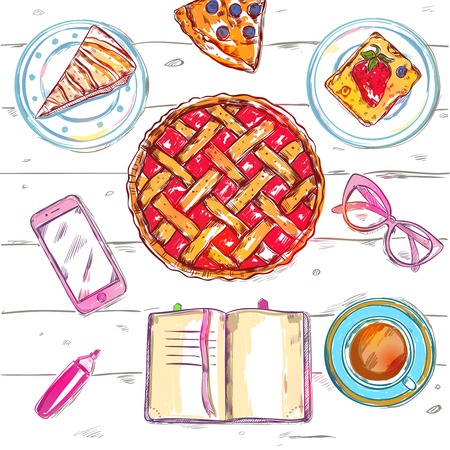 where to eat: Sketch eat food top view with sweet cakes and coffee at a cafe where a girl reading a book or writing vector illustration Illustration