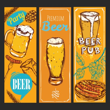 illustraiton: Three vertical colored and isolated beer banner set with party beer premium beer and beer pub descriptions vector illustration