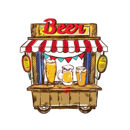 Colored isolated beer pub or truck outdoor composition wooden with red headline beer vector illustration Illustration