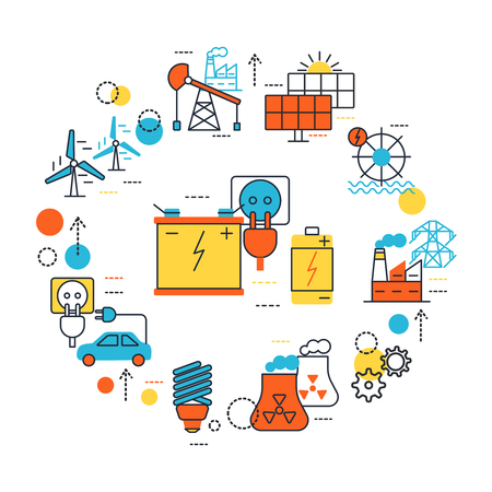 Energy Sources line composition with isolated icon set combined in circle on theme vector illustration