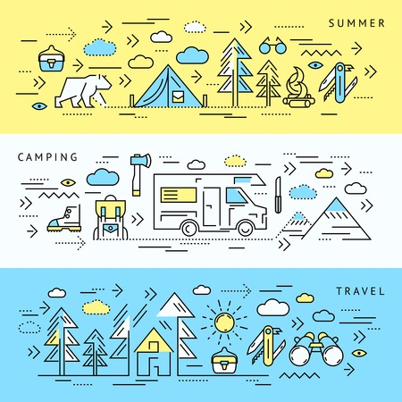 survival knife: Three horizontal colored camping banner set with summer camping and travel headlines vector illustration Illustration
