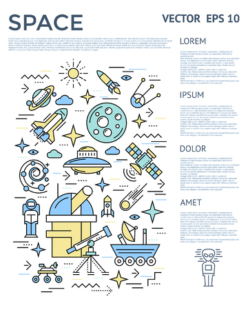 right side: Space vertical infographic with texts on right side column and cosmic icon set vector illustration