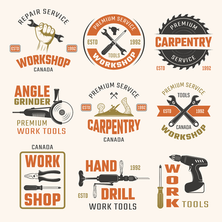 work tools: Work tools retro style emblems with typographic letterings carpentry and repair instruments isolated vector illustration