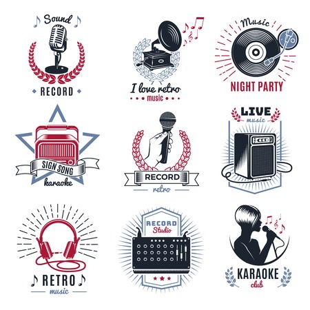 audio equipment: Karaoke vintage set with retro audio equipment musical notes laurel wreaths and rays isolated vector illustration