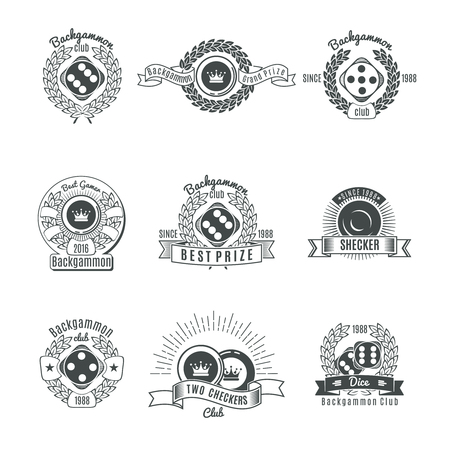backgammon: Backgammon clubs vintage style emblems with chips and dice laurel wreaths ribbons and rays isolated vector illustration Illustration