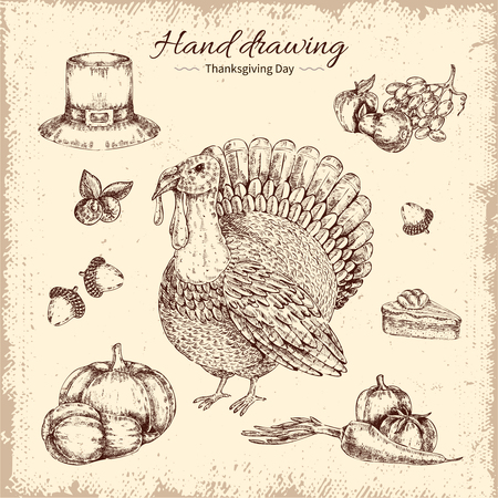 Thanksgiving day design with fruit and vegetables turkey and acorns on worn background hand drawn vector illustration Illustration