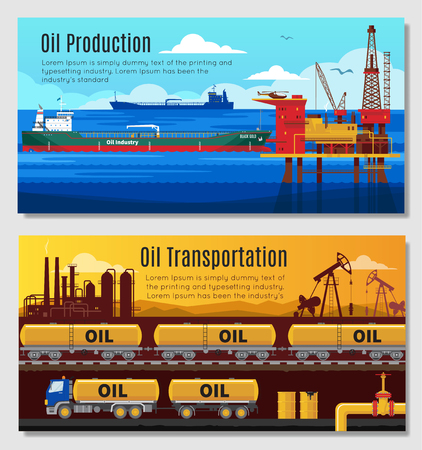 extraction: Oil industry horizontal banners with petroleum extraction and refining  railway and truck transportation  isolated vector illustration