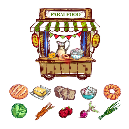 Farm food outdoor shop composition with mini shop and isolated colored icon set of vegetables vector illustration