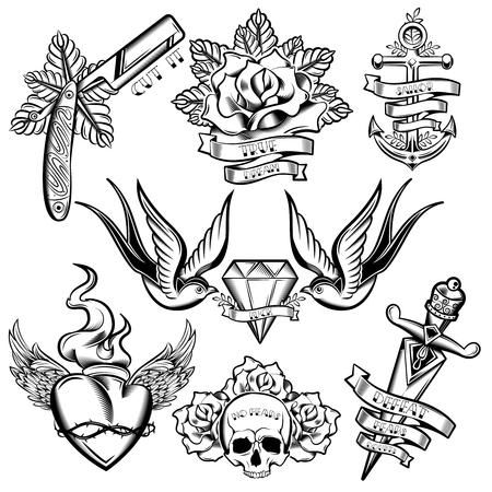 Conjunto de elementos monocromáticos del tatuaje con las golondrinas de anclaje y la decoración floral de diamantes cintas aladas corazón ilustración vectorial aislado Ilustración de vector
